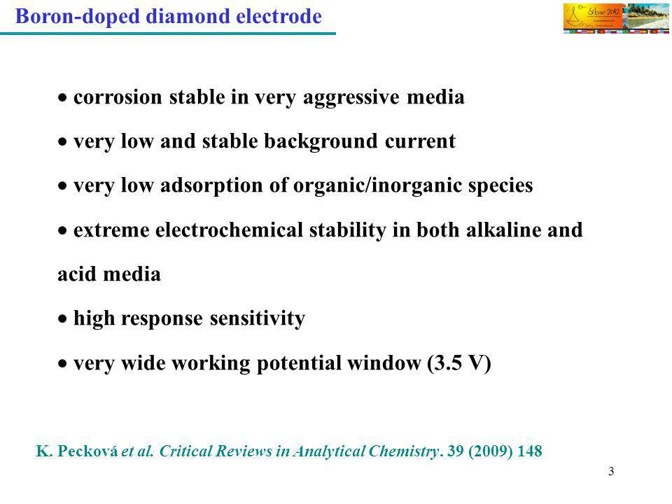 3 Boron-doped diamond electrode corrosion stable in very aggressive media very low and stable background current very low adsorption of organic/inorga