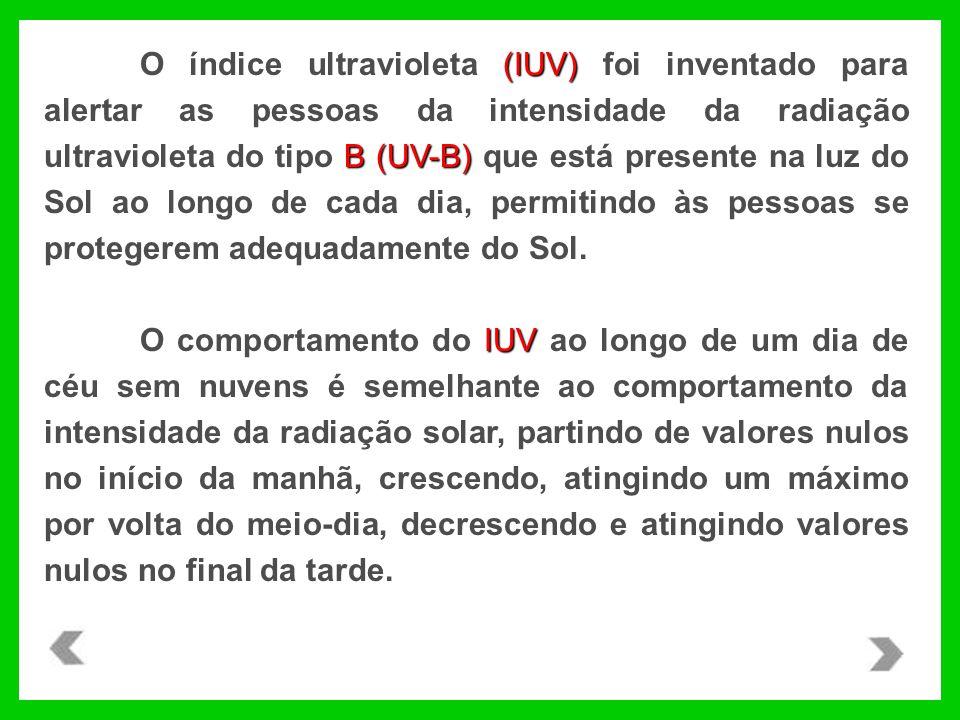 (IUV) B (UV-B) O índice ultravioleta (IUV) foi inventado para alertar as pessoas da intensidade da radiação ultravioleta do tipo B (UV-B) que está presente na luz do Sol ao longo de cada dia, permitindo às pessoas se protegerem adequadamente do Sol.