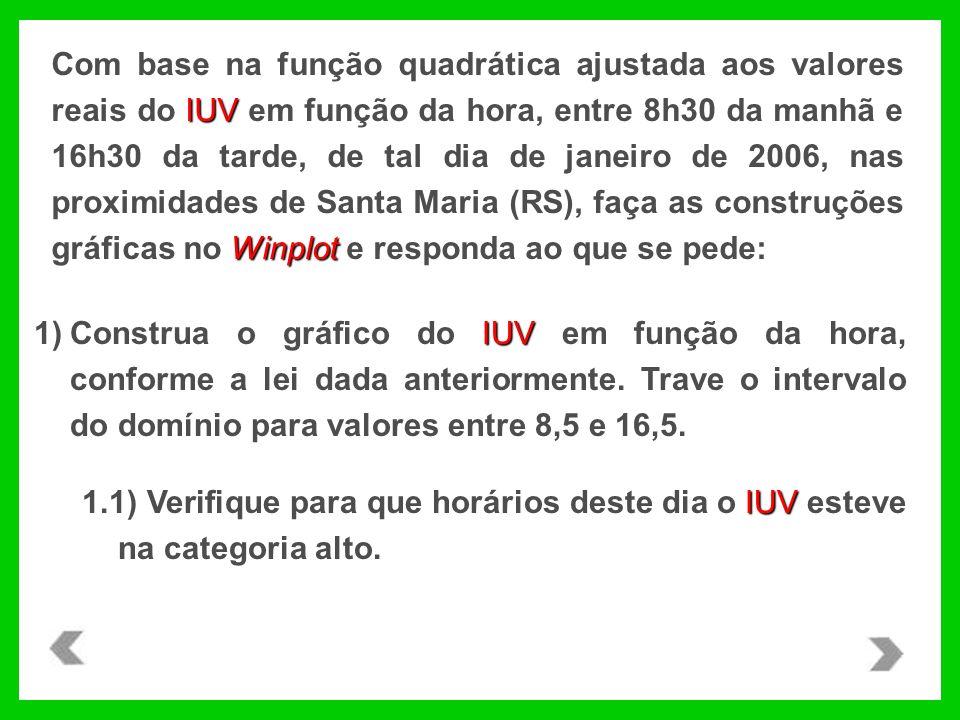 IUV Winplot Com base na função quadrática ajustada aos valores reais do IUV em função da hora, entre 8h30 da manhã e 16h30 da tarde, de tal dia de janeiro de 2006, nas proximidades de Santa Maria (RS), faça as construções gráficas no Winplot e responda ao que se pede: IUV 1)Construa o gráfico do IUV em função da hora, conforme a lei dada anteriormente.