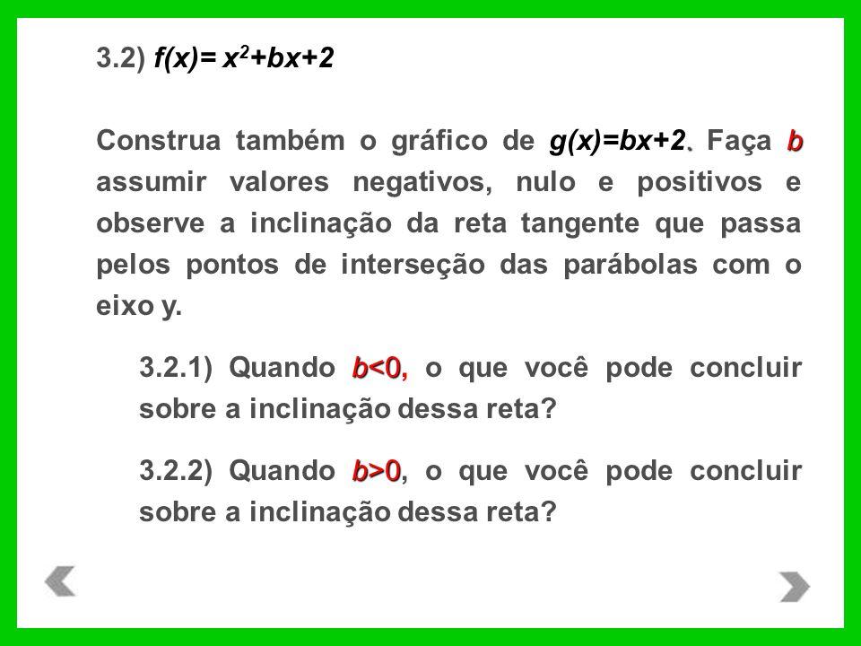 f(x)= x 2 +bx+2 3.2) f(x)= x 2 +bx+2.b Construa também o gráfico de g(x)=bx+2. Faça b assumir valores negativos, nulo e positivos e observe a inclinaç