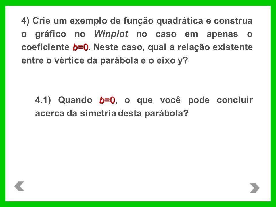 b=0 4) Crie um exemplo de função quadrática e construa o gráfico no Winplot no caso em apenas o coeficiente b=0. Neste caso, qual a relação existente