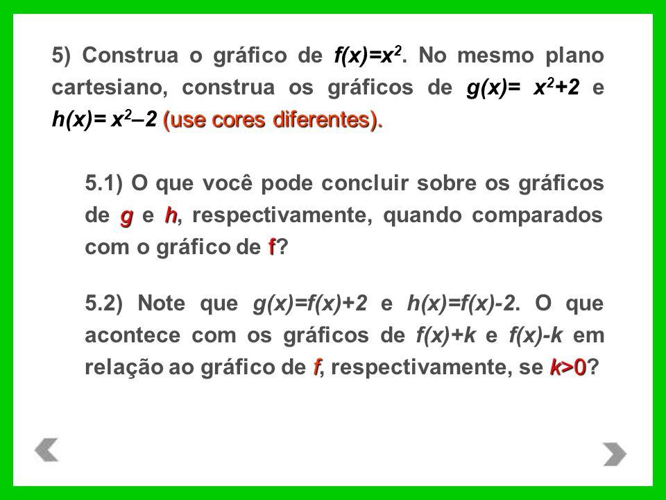 (use cores diferentes). 5) Construa o gráfico de f(x)=x 2. No mesmo plano cartesiano, construa os gráficos de g(x)= x 2 +2 e h(x)= x 2 –2 (use cores d