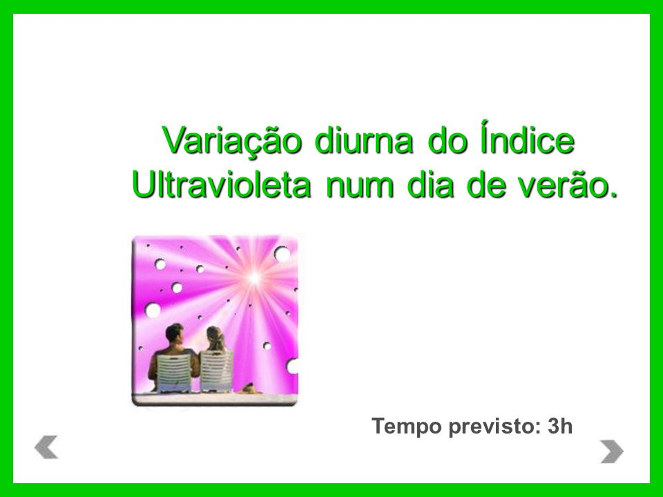 Tempo previsto: 3h Variação diurna do Índice Ultravioleta num dia de verão.