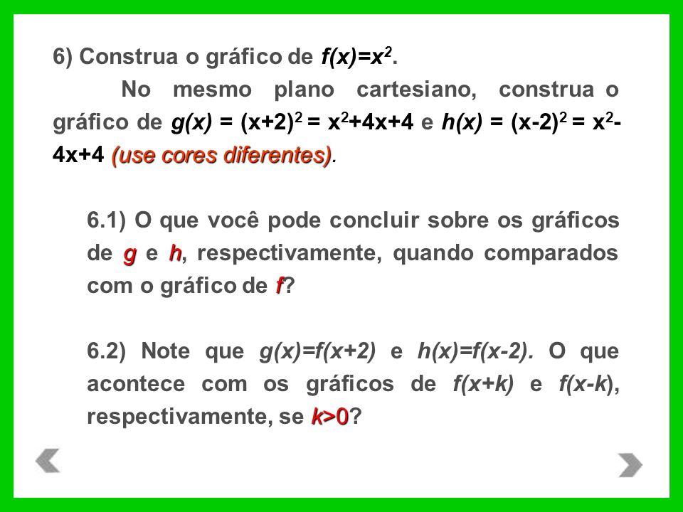 6) Construa o gráfico de f(x)=x 2. (use cores diferentes). No mesmo plano cartesiano, construa o gráfico de g(x) = (x+2) 2 = x 2 +4x+4 e h(x) = (x-2)
