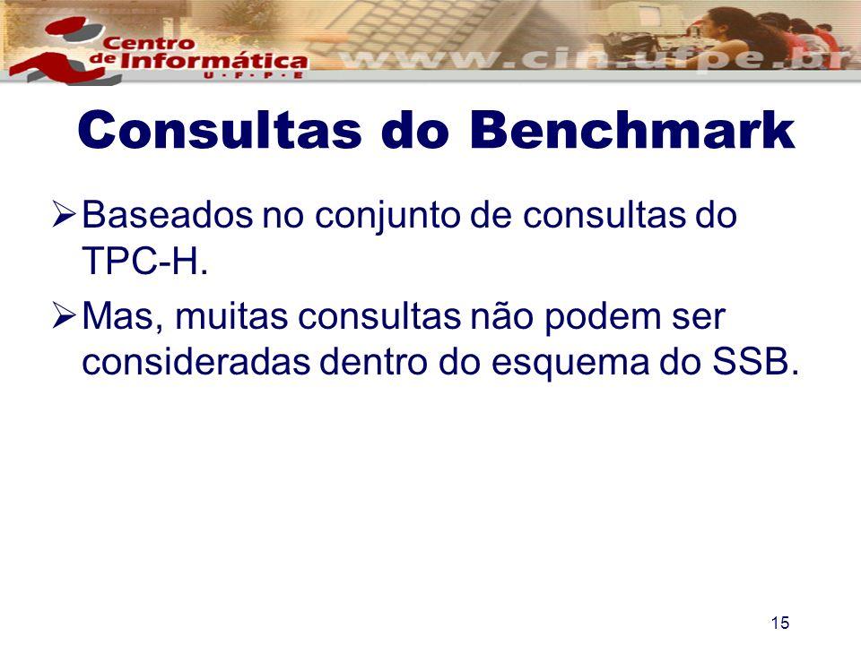 Consultas do Benchmark Baseados no conjunto de consultas do TPC-H. Mas, muitas consultas não podem ser consideradas dentro do esquema do SSB. 15