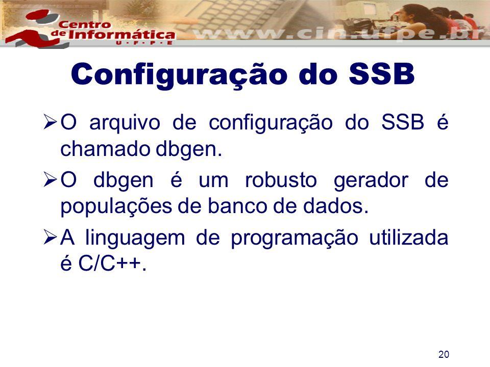 Configuração do SSB O arquivo de configuração do SSB é chamado dbgen. O dbgen é um robusto gerador de populações de banco de dados. A linguagem de pro