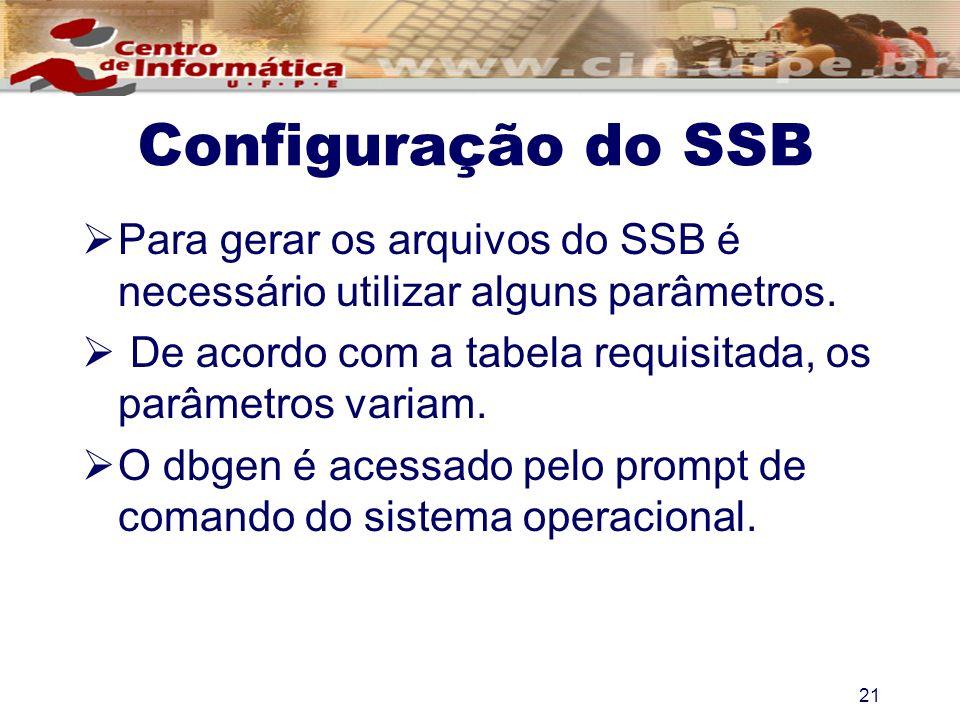 Para gerar os arquivos do SSB é necessário utilizar alguns parâmetros. De acordo com a tabela requisitada, os parâmetros variam. O dbgen é acessado pe
