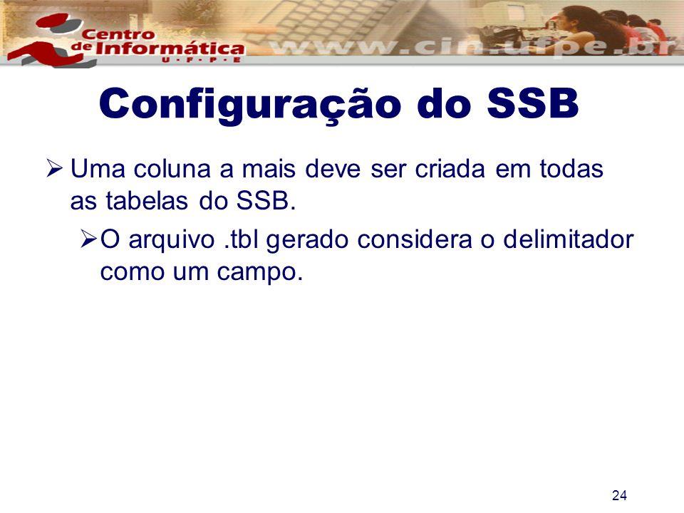 Uma coluna a mais deve ser criada em todas as tabelas do SSB. O arquivo.tbl gerado considera o delimitador como um campo. 24 Configuração do SSB