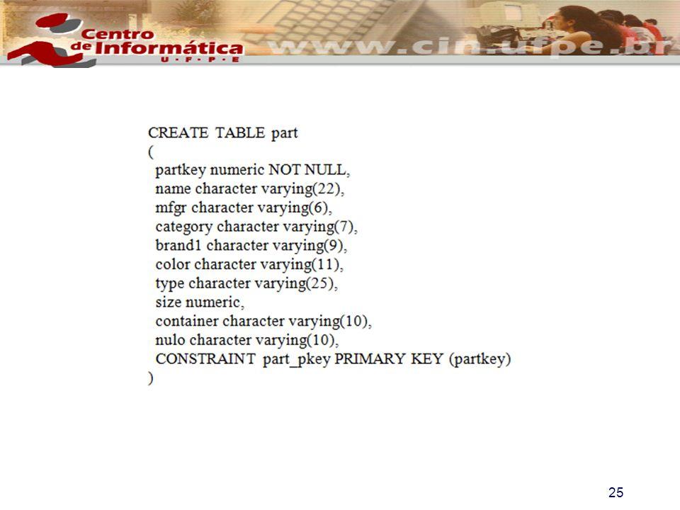 Para povoar a tabela deve-se executar o comando COPY part FROM c://part.tbl USING DELIMITERS | ; 26 Configuração do SSB