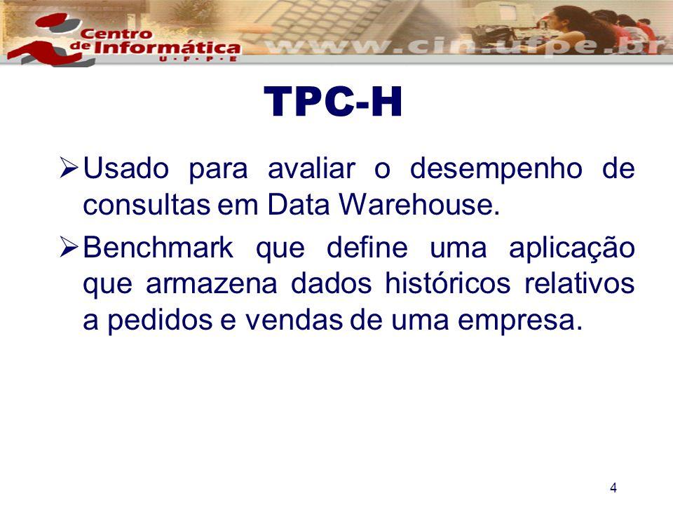 TPC-H Usado para avaliar o desempenho de consultas em Data Warehouse. Benchmark que define uma aplicação que armazena dados históricos relativos a ped