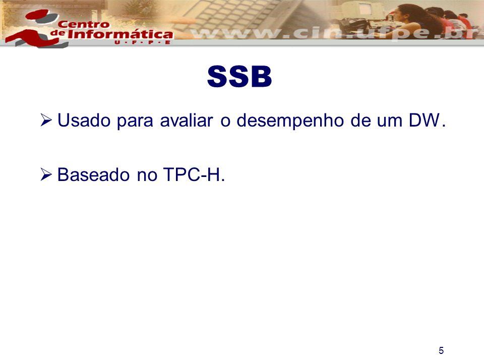 5 SSB Usado para avaliar o desempenho de um DW. Baseado no TPC-H.