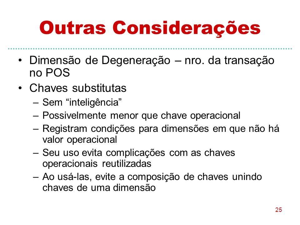 25 Outras Considerações Dimensão de Degeneração – nro. da transação no POS Chaves substitutas –Sem inteligência –Possivelmente menor que chave operaci