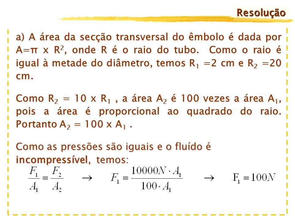 4 cm40 cm 10.000 N Na prensa hidráulica da figura, os diâmetros dos tubos 1 e 2 são, respectivamente, 4 cm e 40 cm.