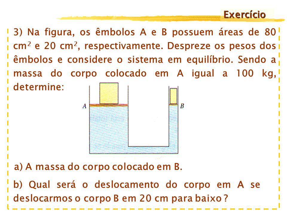 c correta O item c é a resposta correta, pois pelo Princípio de Pascal, a pressão em todos os pontos do líquido é a mesma: Por outro lado, o volume do fluído deslocado entre os êmbolos é igual: Substituindo-se (2) em (1) temos finalmente que: (1) (2) de Conseqüentemente os itens d e e são falsos !