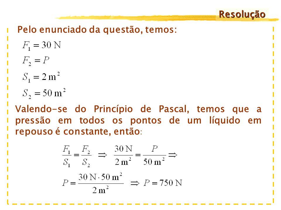 4) As áreas dos pistões do dispositivo hidráulico da figura mantêm a relação 50:2.