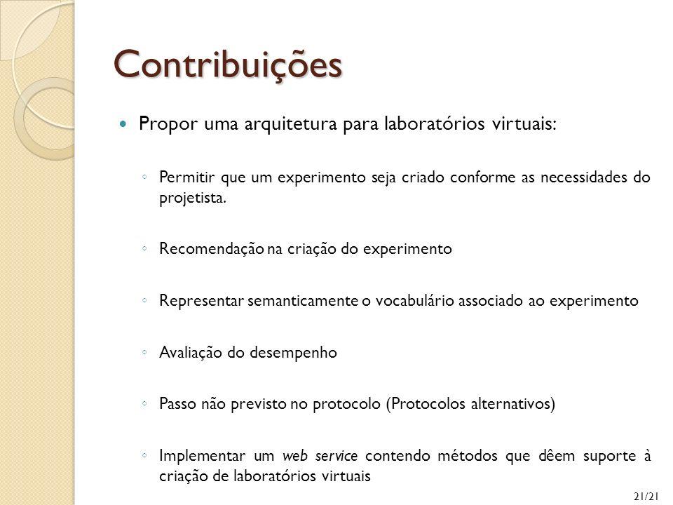 21/21 Contribuições Propor uma arquitetura para laboratórios virtuais: Permitir que um experimento seja criado conforme as necessidades do projetista.