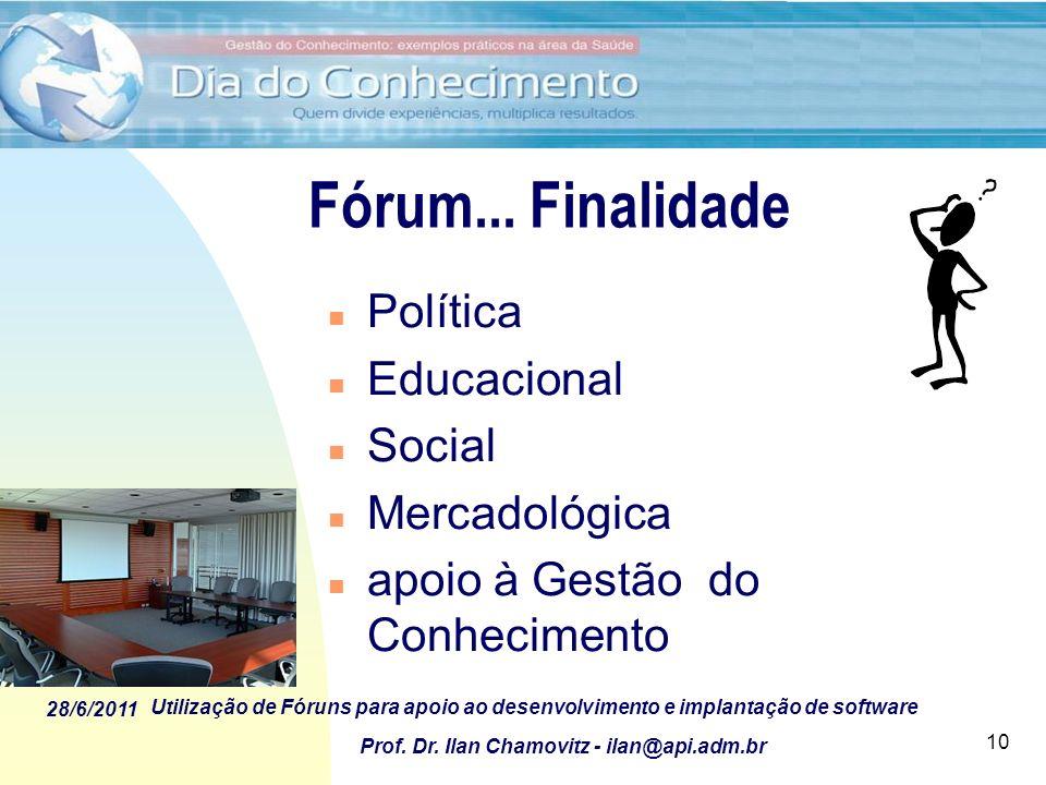 28/6/2011 Utilização de Fóruns para apoio ao desenvolvimento e implantação de software Prof. Dr. Ilan Chamovitz - ilan@api.adm.br 10 Fórum... Finalida