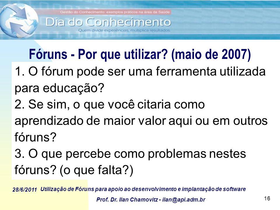 28/6/2011 Utilização de Fóruns para apoio ao desenvolvimento e implantação de software Prof. Dr. Ilan Chamovitz - ilan@api.adm.br 16 Fóruns - Por que
