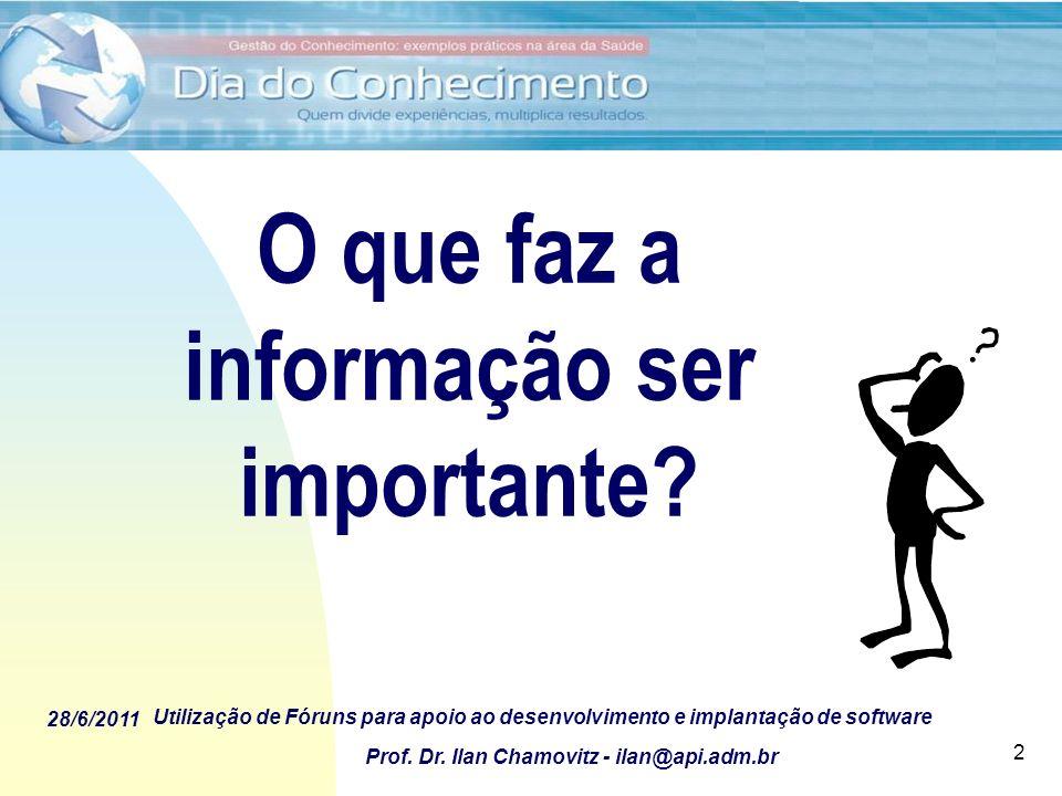 28/6/2011 Utilização de Fóruns para apoio ao desenvolvimento e implantação de software Prof. Dr. Ilan Chamovitz - ilan@api.adm.br 2 O que faz a inform