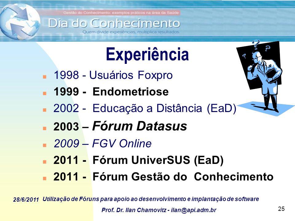 28/6/2011 Utilização de Fóruns para apoio ao desenvolvimento e implantação de software Prof. Dr. Ilan Chamovitz - ilan@api.adm.br 25 Experiência n 199