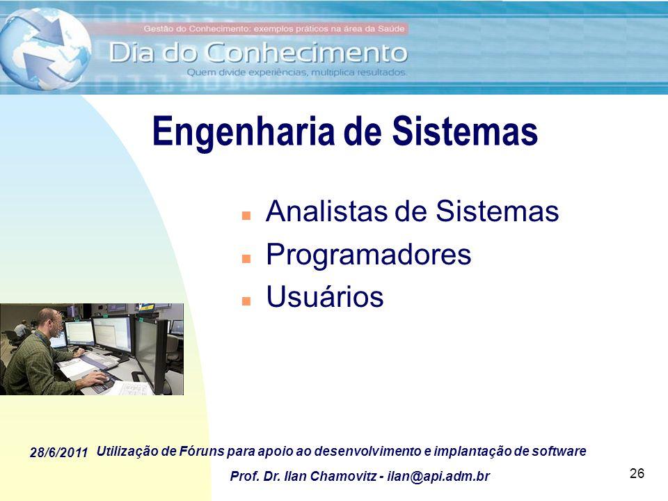 28/6/2011 Utilização de Fóruns para apoio ao desenvolvimento e implantação de software Prof. Dr. Ilan Chamovitz - ilan@api.adm.br 26 Engenharia de Sis