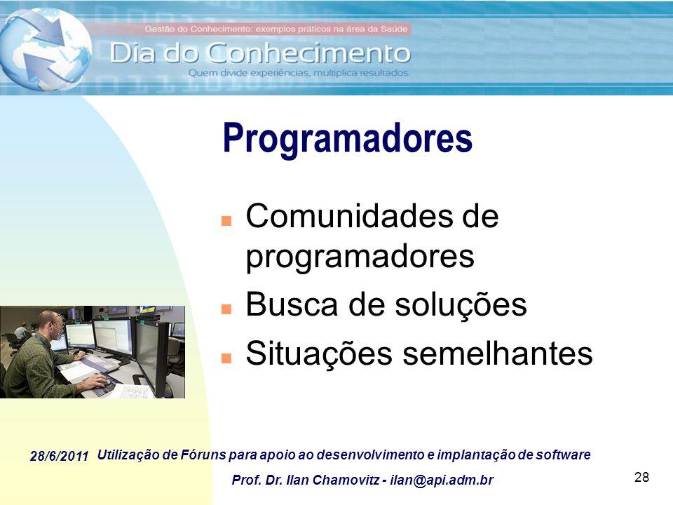 28/6/2011 Utilização de Fóruns para apoio ao desenvolvimento e implantação de software Prof. Dr. Ilan Chamovitz - ilan@api.adm.br 28 Programadores n C