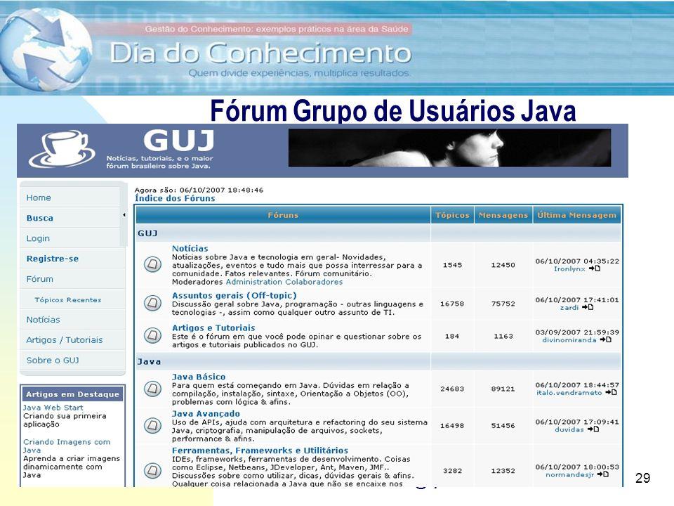 28/6/2011 Utilização de Fóruns para apoio ao desenvolvimento e implantação de software Prof. Dr. Ilan Chamovitz - ilan@api.adm.br 29 Fórum Grupo de Us