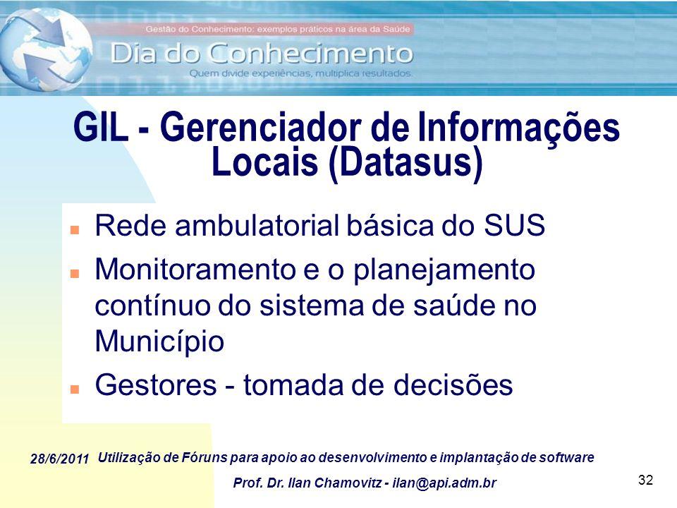 28/6/2011 Utilização de Fóruns para apoio ao desenvolvimento e implantação de software Prof. Dr. Ilan Chamovitz - ilan@api.adm.br 32 GIL - Gerenciador