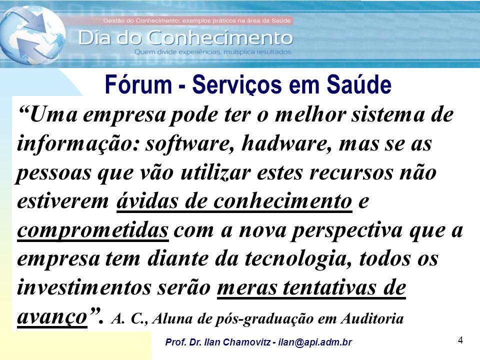 28/6/2011 Utilização de Fóruns para apoio ao desenvolvimento e implantação de software Prof. Dr. Ilan Chamovitz - ilan@api.adm.br 4 Fórum - Serviços e