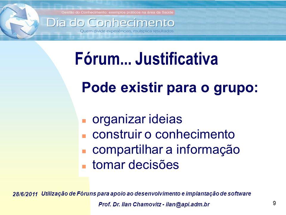 28/6/2011 Utilização de Fóruns para apoio ao desenvolvimento e implantação de software Prof. Dr. Ilan Chamovitz - ilan@api.adm.br 9 Fórum... Justifica
