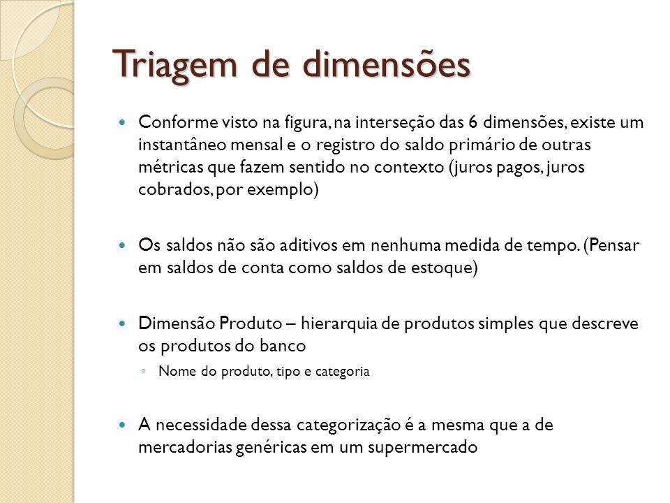 Triagem de dimensões Conforme visto na figura, na interseção das 6 dimensões, existe um instantâneo mensal e o registro do saldo primário de outras mé