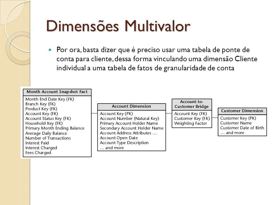 Dimensões Multivalor Por ora, basta dizer que é preciso usar uma tabela de ponte de conta para cliente, dessa forma vinculando uma dimensão Cliente in