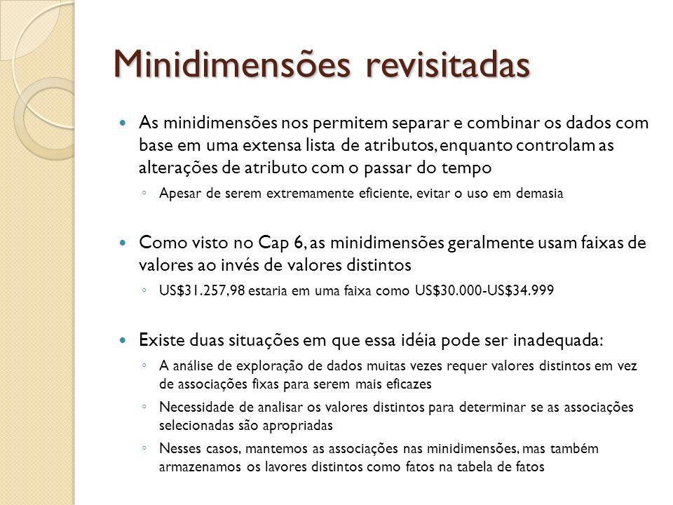 Minidimensões revisitadas As minidimensões nos permitem separar e combinar os dados com base em uma extensa lista de atributos, enquanto controlam as