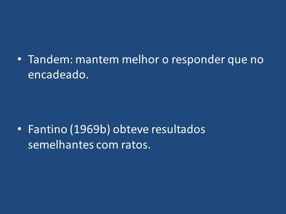Tandem: mantem melhor o responder que no encadeado. Fantino (1969b) obteve resultados semelhantes com ratos.