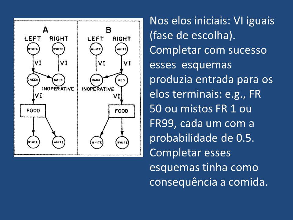 Nos elos iniciais: VI iguais (fase de escolha). Completar com sucesso esses esquemas produzia entrada para os elos terminais: e.g., FR 50 ou mistos FR