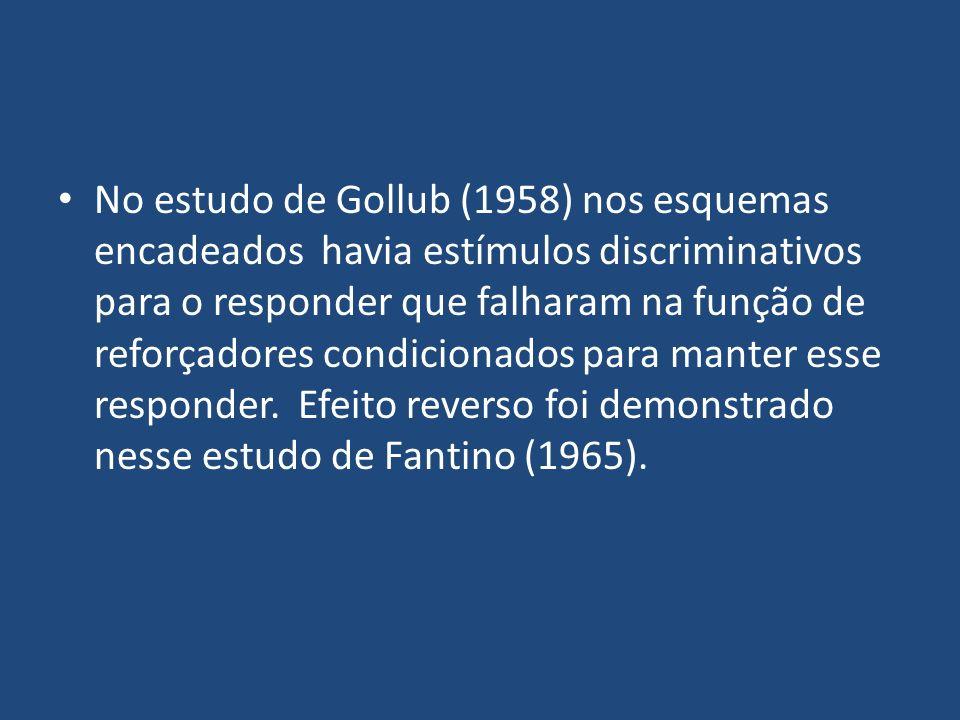No estudo de Gollub (1958) nos esquemas encadeados havia estímulos discriminativos para o responder que falharam na função de reforçadores condicionad