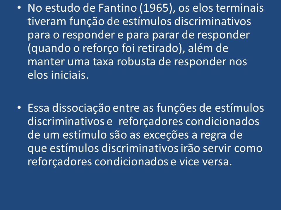 No estudo de Fantino (1965), os elos terminais tiveram função de estímulos discriminativos para o responder e para parar de responder (quando o reforç