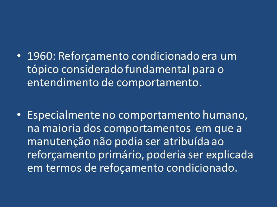 1960: Reforçamento condicionado era um tópico considerado fundamental para o entendimento de comportamento. Especialmente no comportamento humano, na