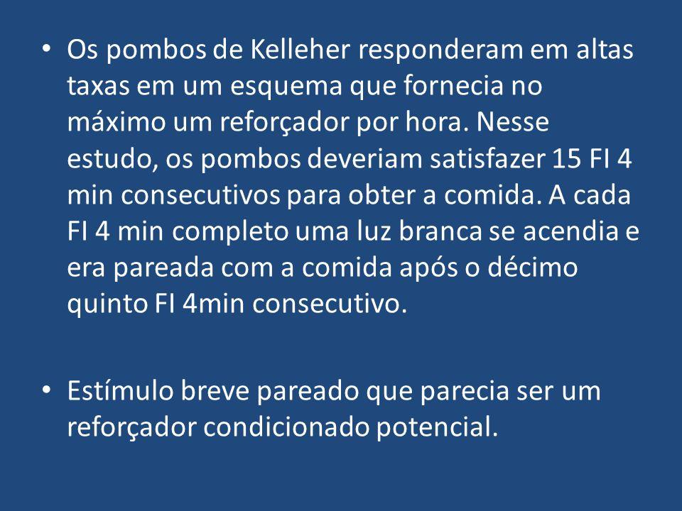 Os pombos de Kelleher responderam em altas taxas em um esquema que fornecia no máximo um reforçador por hora. Nesse estudo, os pombos deveriam satisfa