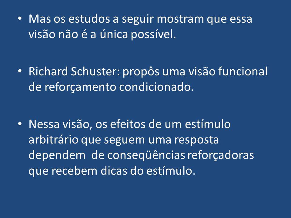 Mas os estudos a seguir mostram que essa visão não é a única possível. Richard Schuster: propôs uma visão funcional de reforçamento condicionado. Ness
