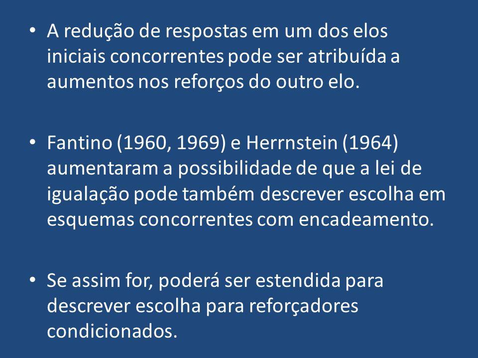 A redução de respostas em um dos elos iniciais concorrentes pode ser atribuída a aumentos nos reforços do outro elo. Fantino (1960, 1969) e Herrnstein