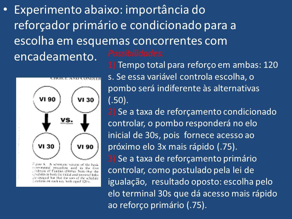 Experimento abaixo: importância do reforçador primário e condicionado para a escolha em esquemas concorrentes com encadeamento. Possibilidades: 1) Tem