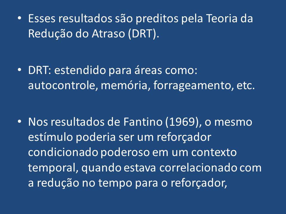 Esses resultados são preditos pela Teoria da Redução do Atraso (DRT). DRT: estendido para áreas como: autocontrole, memória, forrageamento, etc. Nos r