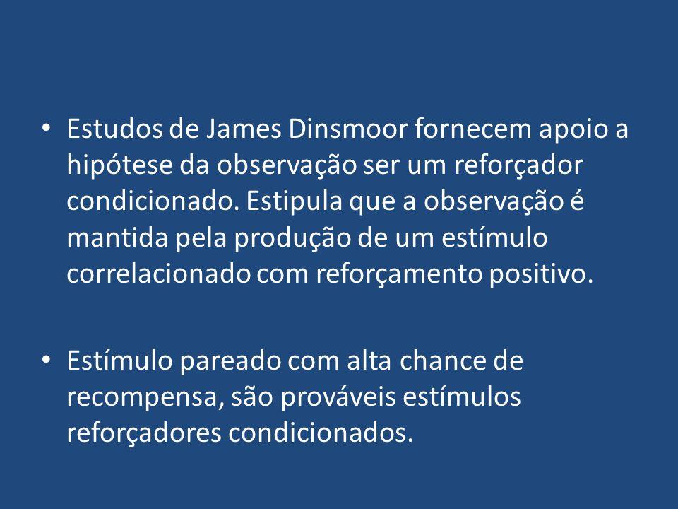 Estudos de James Dinsmoor fornecem apoio a hipótese da observação ser um reforçador condicionado. Estipula que a observação é mantida pela produção de