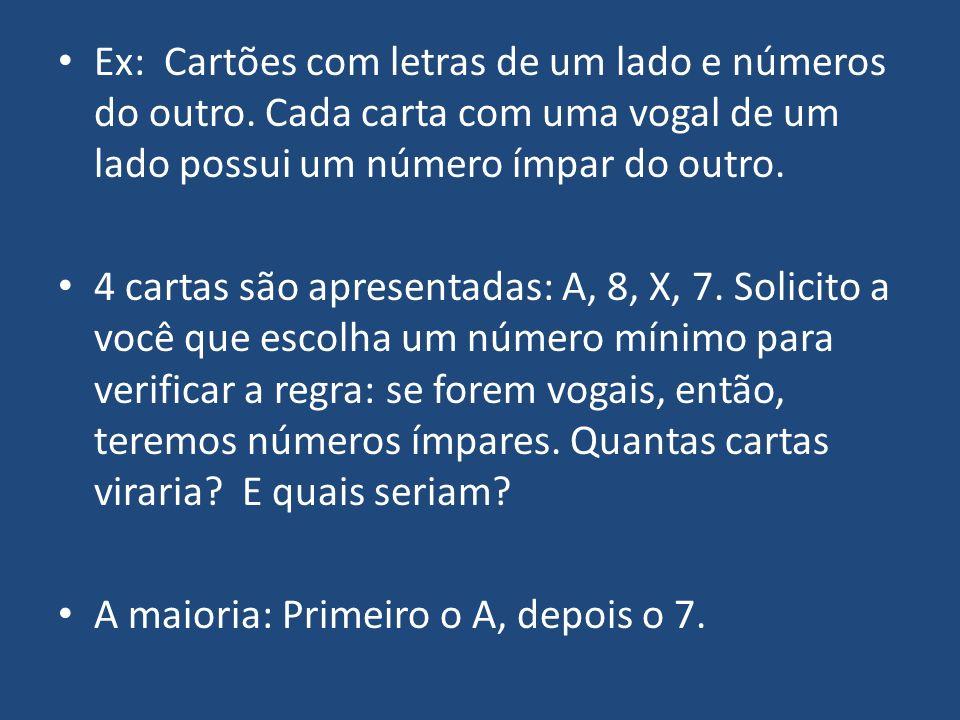 Ex: Cartões com letras de um lado e números do outro. Cada carta com uma vogal de um lado possui um número ímpar do outro. 4 cartas são apresentadas:
