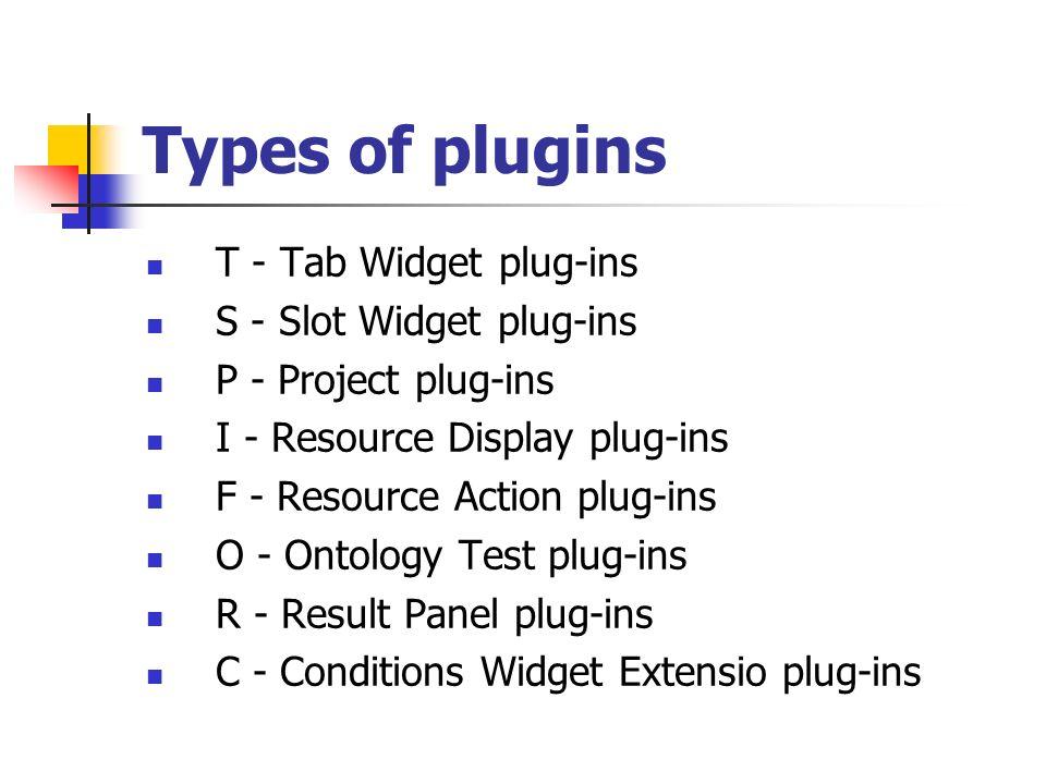 Types of plugins T - Tab Widget plug-ins S - Slot Widget plug-ins P - Project plug-ins I - Resource Display plug-ins F - Resource Action plug-ins O -