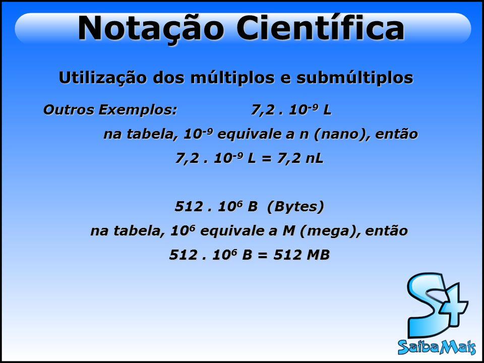 Notação Científica Utilização dos múltiplos e submúltiplos Outros Exemplos: 7,2. 10 -9 L na tabela, 10 -9 equivale a n (nano), então na tabela, 10 -9