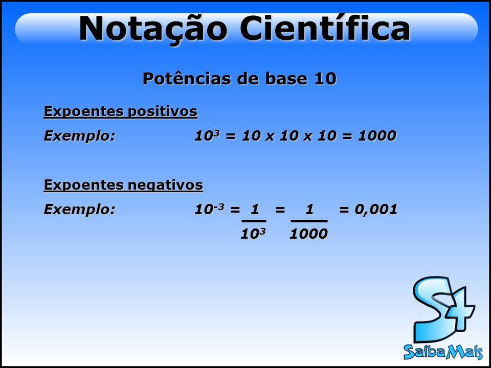 Notação Científica Potências de base 10 10 0 = 1 10 1 = 1010 -1 = 0,1 10 2 = 10010 -2 = 0,01 10 3 = 100010 -3 = 0,001 10 4 = 1000010 -4 = 0,0001 10 5 = 10000010 -5 = 0,00001 10 6 = 100000010 -6 = 0,000001 10 7 = 1000000010 -7 = 0,0000001 10 8 = 10000000010 -8 = 0,00000001 10 9 = 100000000010 -9 = 0,000000001 10 10 =1000000000010 -10 =0,0000000001