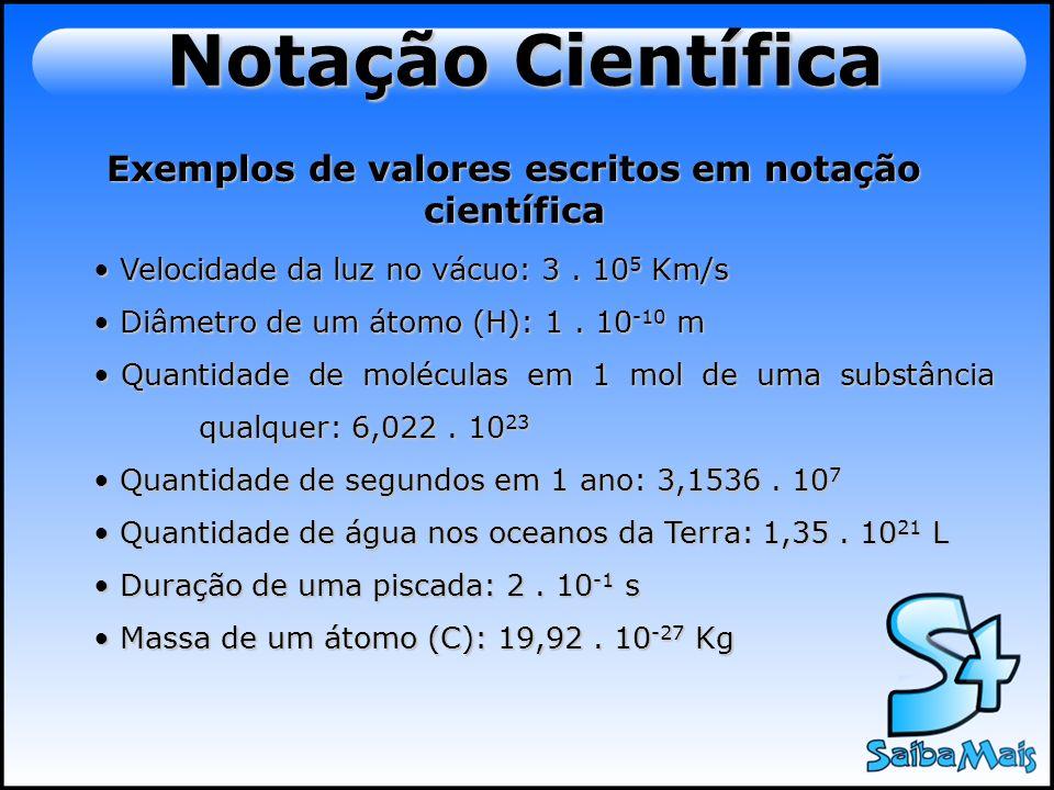 Exemplos de valores escritos em notação científica Velocidade da luz no vácuo: 3. 10 5 Km/s Velocidade da luz no vácuo: 3. 10 5 Km/s Diâmetro de um át