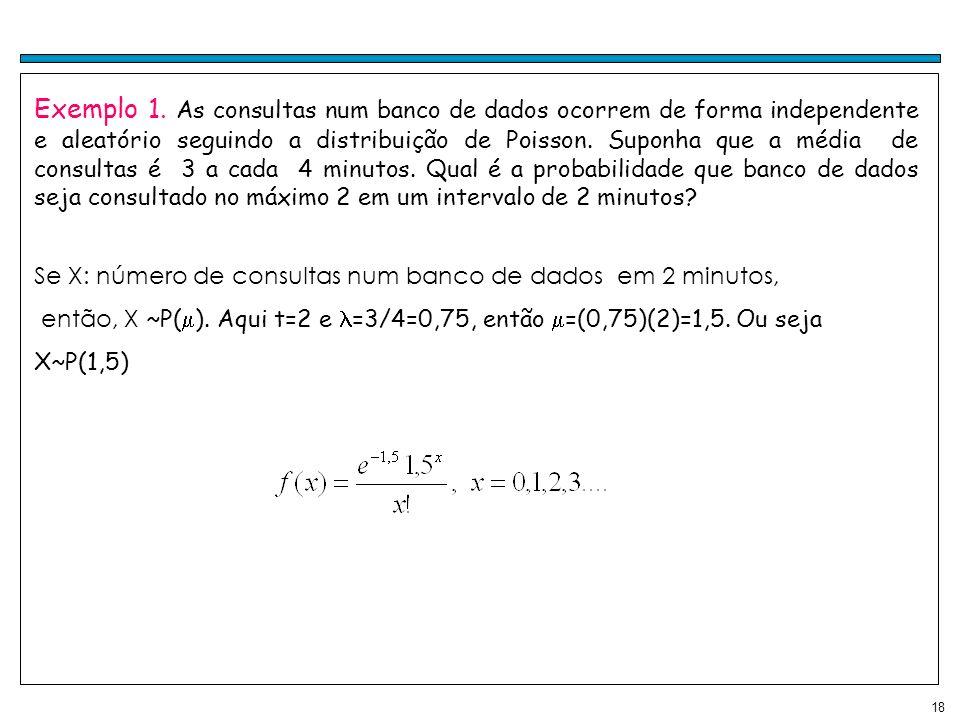 18 Exemplo 1. As consultas num banco de dados ocorrem de forma independente e aleatório seguindo a distribuição de Poisson. Suponha que a média de con